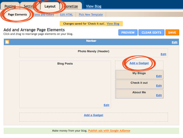 how to add a blog button to blogger