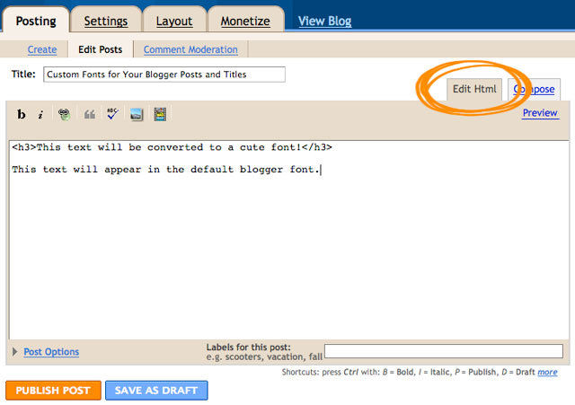 use a custom font for your posts and titles on your blogger/blogspot blog