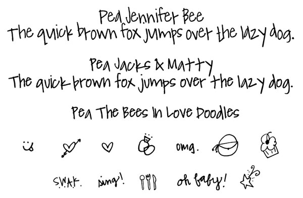 Pea Jennifer Bee, Jacks & Matty & Doodles font