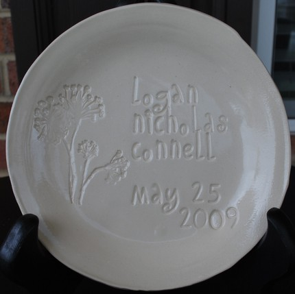 Baby's First Birthday Custom Engraved Pottery Plate