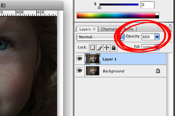 Image of Adjusting Opacity in Photoshop