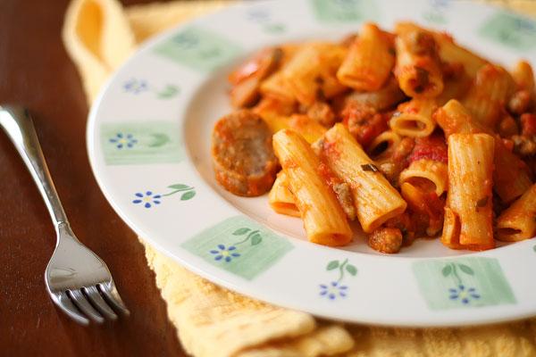 homemade basil fettuccine flavored pasta