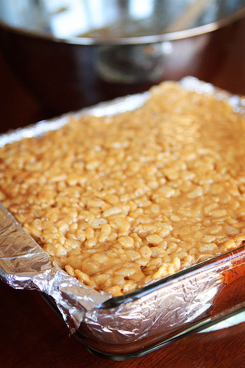 Peanut Butter Rice Krispy Treat Topped Brownies