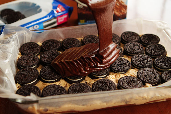 Image of an Oreo Dessert in Progress