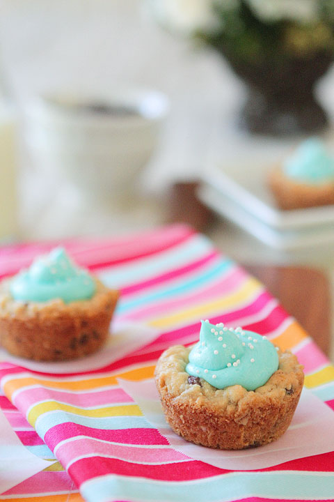 Baby Blue Chocolate Chip Oatmeal Cookie Cups | A Baby Shower for Maria