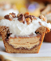 Image of a Frosted Candy Bar Stuffed Cookie Cup