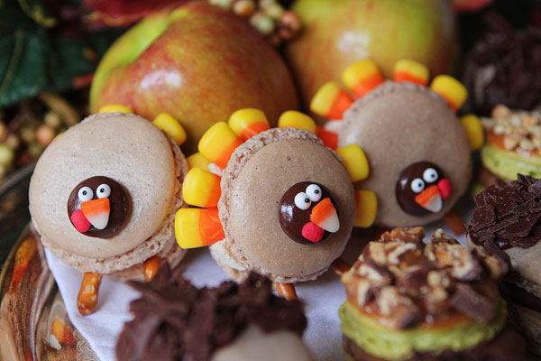 Thanksgiving Themed Holiday Macarons: Caramel Apple Macarons, Chocolate Acorns, and Chocolate Peanut Butter Candy Corn Turkeys