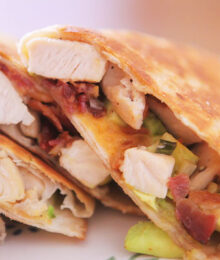 Image of Cheesy Chicken, Bacon & Avocado Quesadillas