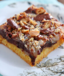 Image of a Girl Scout Cookie Tagalong Cake Bar