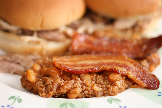 Hearty, Meaty, ULTIMATE Baked Beans - topped with bacon!
