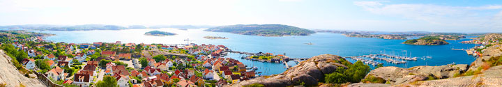 Fjallbacka Panorama, a colorful fishing Village along the west coast of Sweden