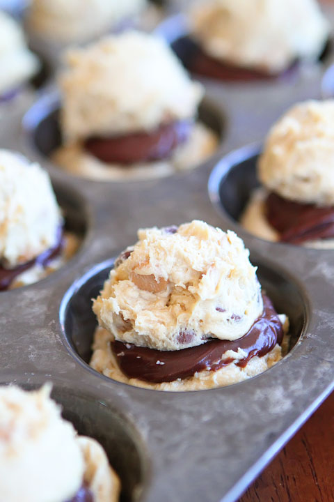 Ganache Stuffed Banana Pudding Cookie Muffins