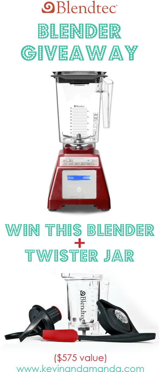 Win a Blendtec Total Blender Classic Blender with WildSide Jar and Twister Jar from kevinandamanda.com! #giveaway