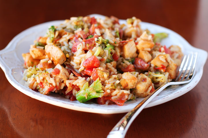 Cheesy Chicken and Rice Recipe with Broccoli and Bacon