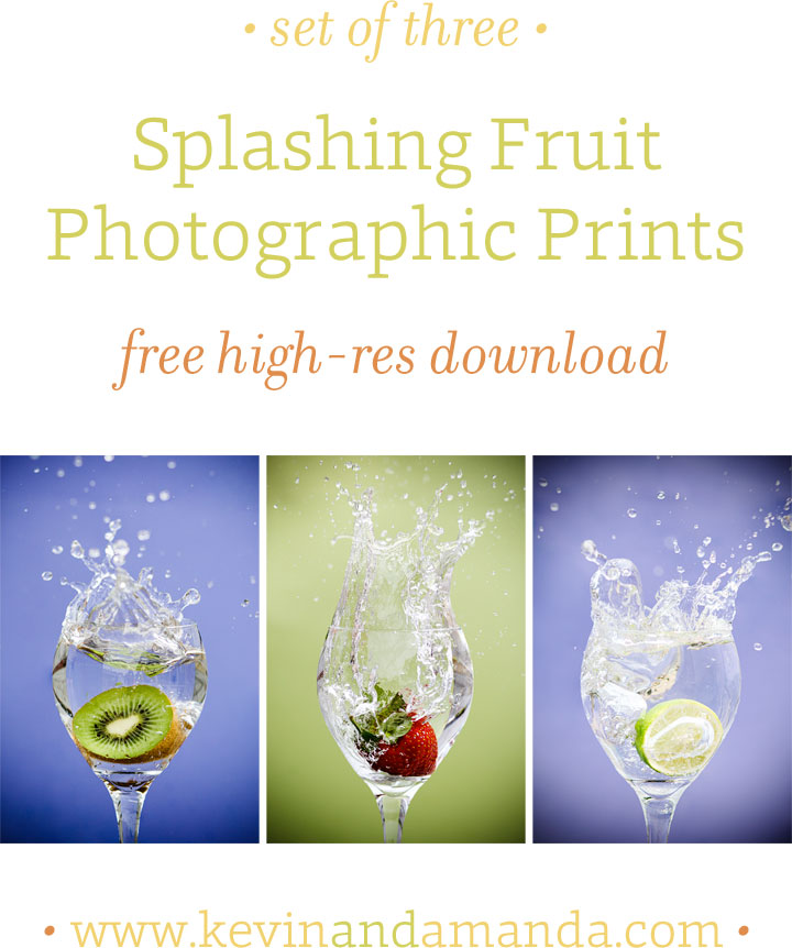 Set of Three Splashing Fruit Photographic Prints for the Kitchen {Free High-Res Download}