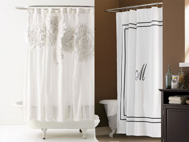 Anthropologie Sculpted Mums Monogrammed Shower Curtain