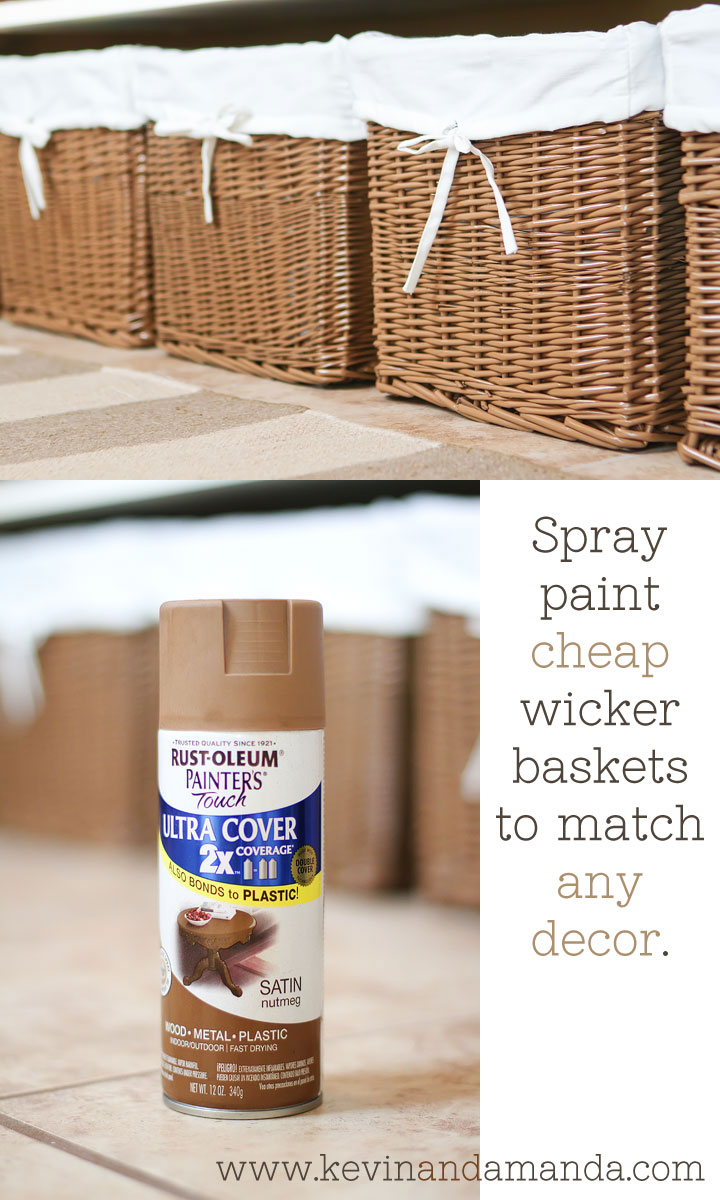 Spray paint cheap wicker baskets to match any decor.