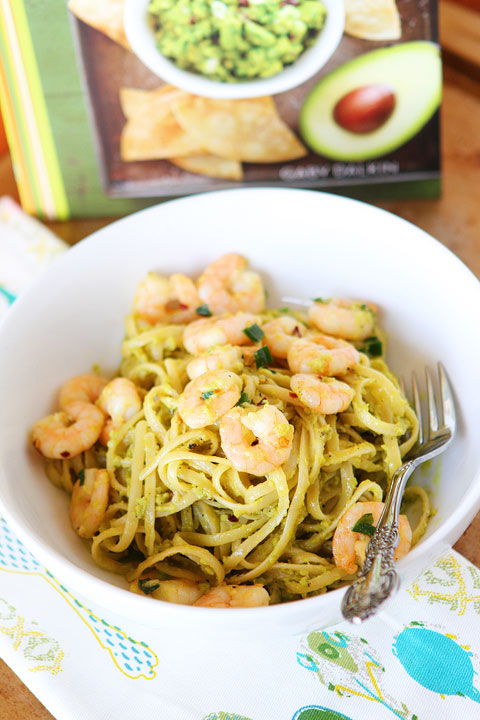 Linguine with shrimp, avocado, & parmesan cheese. Season with salt, pepper, and red pepper flakes. Easy dinner, done!
