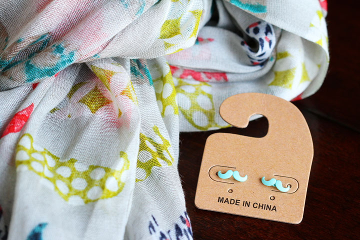 Colorful Mustache Scarf and Mustache Earrings