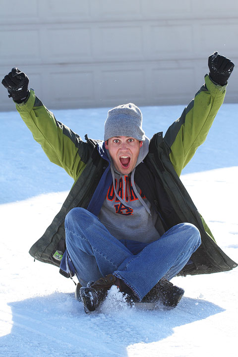Image of Kevin Trying out His Sled