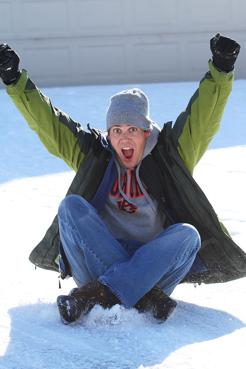 Image of Kevin on His Sled