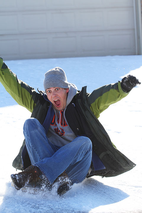 Image of Kevin Using his Sled