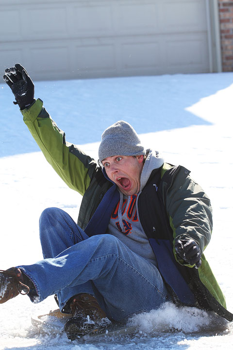 Image of Kevin Speeding Up on His Sled