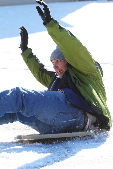 Image of Kevin Balancing on His Sled