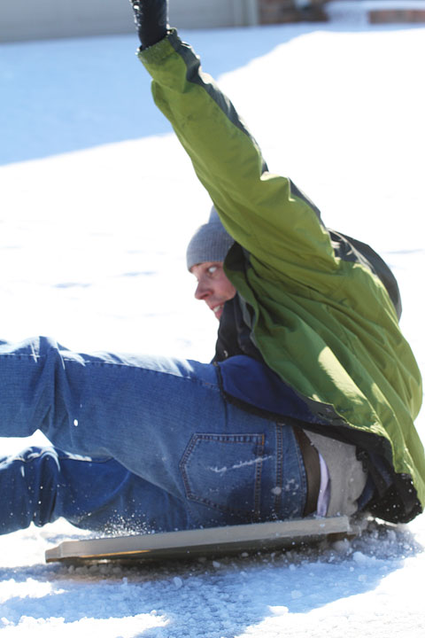 Image of Kevin Falling off His Sled