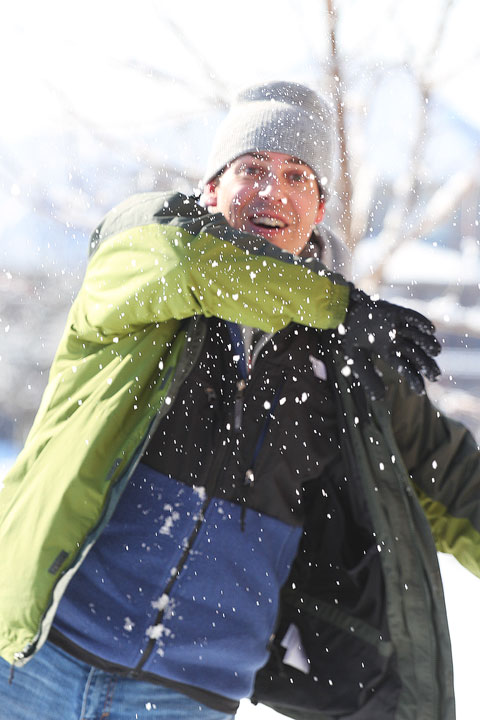 Image of Kevin Throwing a Snowball