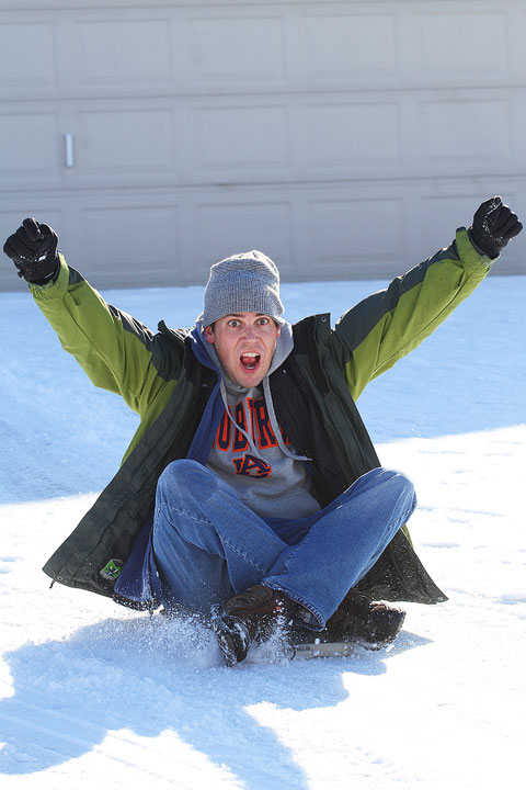 Image of Kevin During a Sledding Run