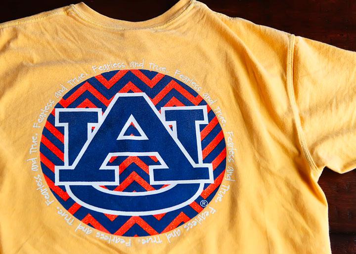 Alumni Hall Fearless and True Auburn T-shirt Handwriting Font