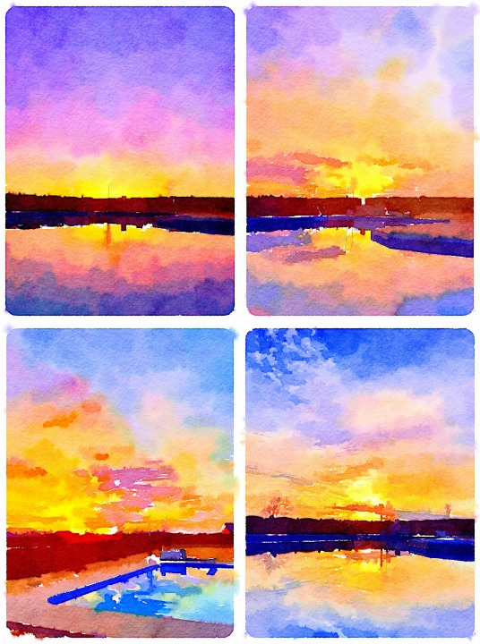 Sunsets Painted in Waterlogue app for iPhone