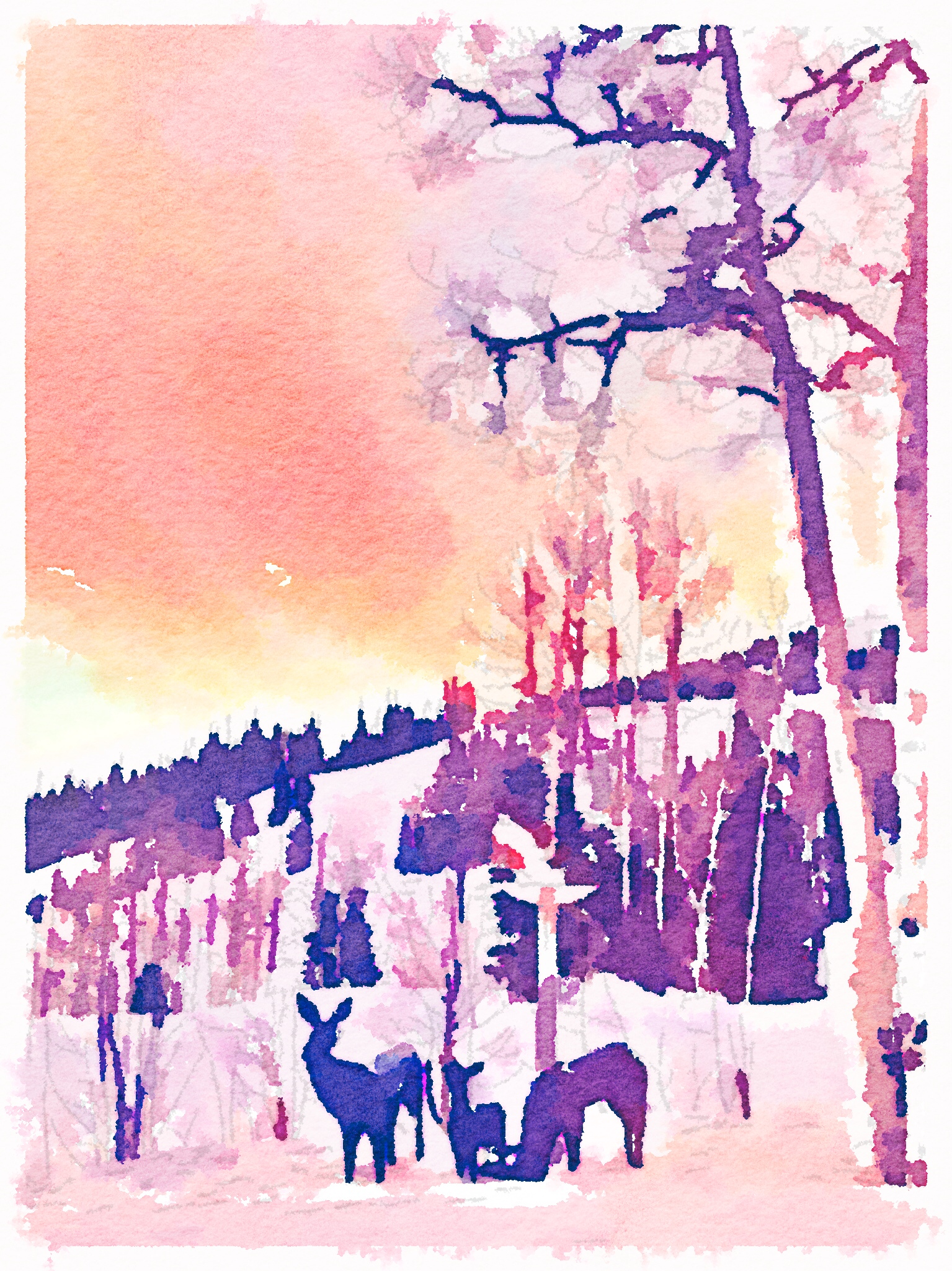 Sunrise Photo Painted in Waterlogue app for iPhone