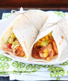 Image of Firecracker Shrimp Tacos with Avocado Corn Salsa