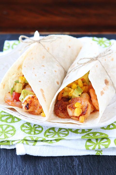 Image of Firecracker Shrimp Tacos with Avocado Corn Salsa