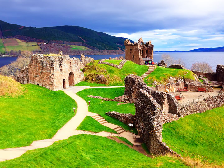 Urquhart Castle at Loch Ness, Inverness, Scotland. Tips for Traveling to Scotland -- What to Do, See, & Eat. www.kevinandamanda.com