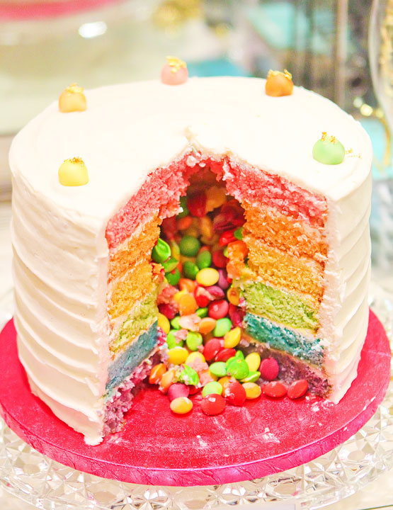 Rainbow Skittles Cake at Fortnum & Mason. Tips for Planning a London Vacation. www.kevinandamanda.com. #travel #london #england