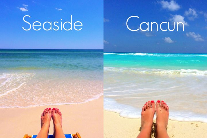 On the beach in Seaside, Florida and Cancun, Mexico.