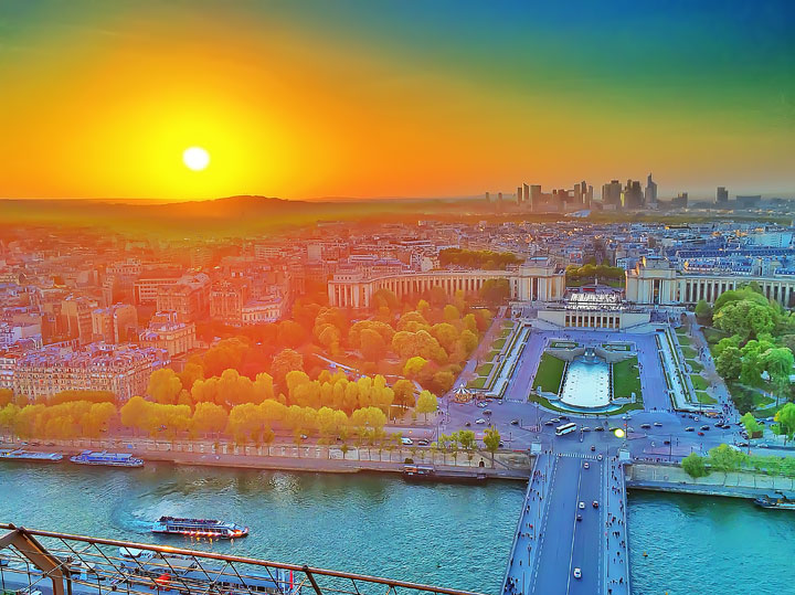 View from the Eiffel Tower at Sunset, Paris, France. www.kevinandamanda.com #travel #paris #france #photography