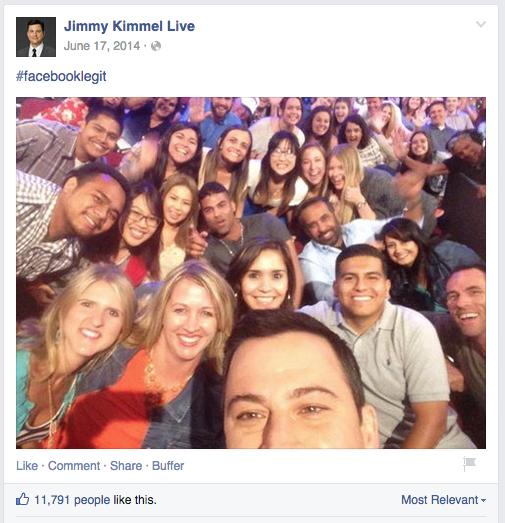 Jimmy Kimmel #FacebookLegit Selfie