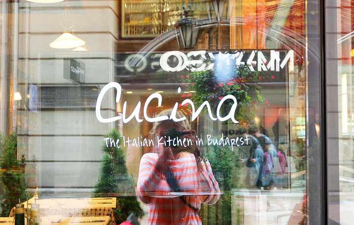 Amanda Green Bottoms' handwriting on a restaurant logo in Budapest, Hungary.