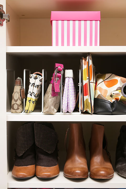 Store and organize purses with a simple paper  sorter !