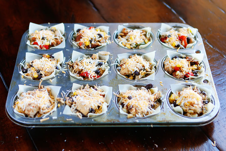 Make these fun Southwestern Chicken Cups using Wonton Wrappers in a Muffin Tin! Great for using up leftover rotisserie chicken or boneless, skinless chicken breasts.