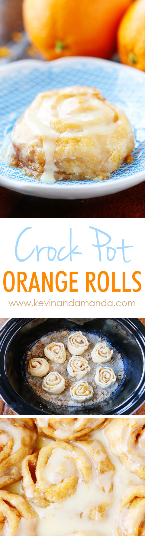These Orange Sweet Rolls are made in a crock pot and turn out ULTRA soft and gooey!! Plus you can keep them warm in the crock pot so they always taste fresh out of the oven!!
