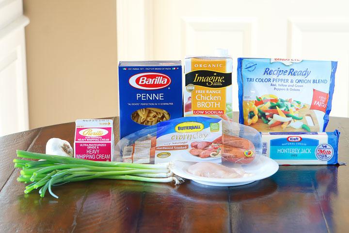 Ingredients for Cajun Chicken Pasta