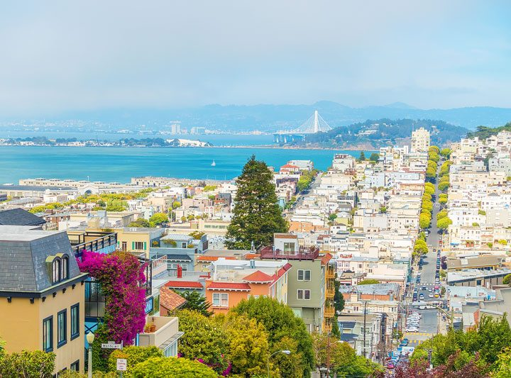 View of San Francisco from Lombard Street