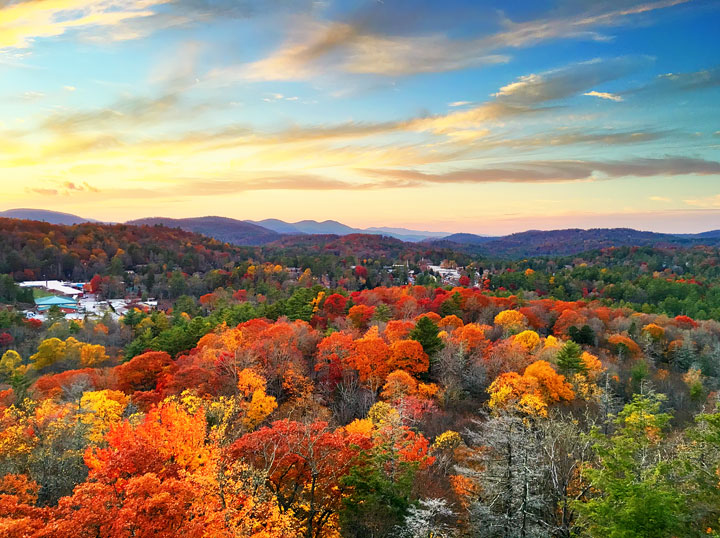 Fall in Highlands, North Carolina. One of the world's Top 10 Sunset Spots!