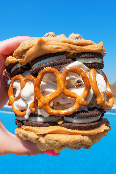 Chocolate Chip Cookie Sandwich with Cookie Dough Ice Cream, Peanut Butter, Oreos, and Pretzels