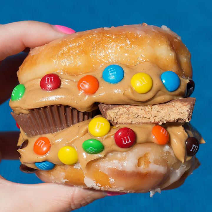 Reese's Peanut Butter Cup and M&M Doughnut Sandwich